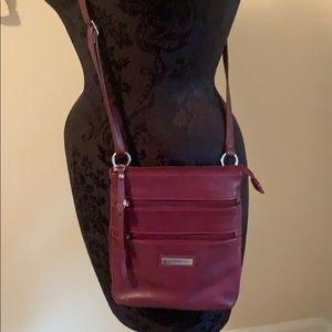 EUC Cute, Maroon Leather Crossbody by Croft&Barrow
